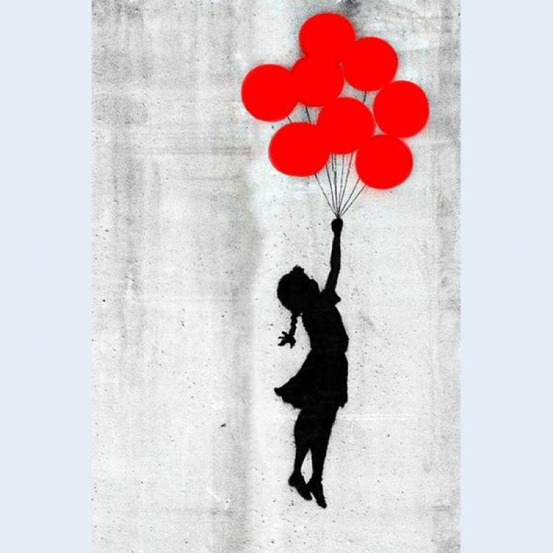 foto auf leinwand banksy streetart m dchen mit ballons. Black Bedroom Furniture Sets. Home Design Ideas