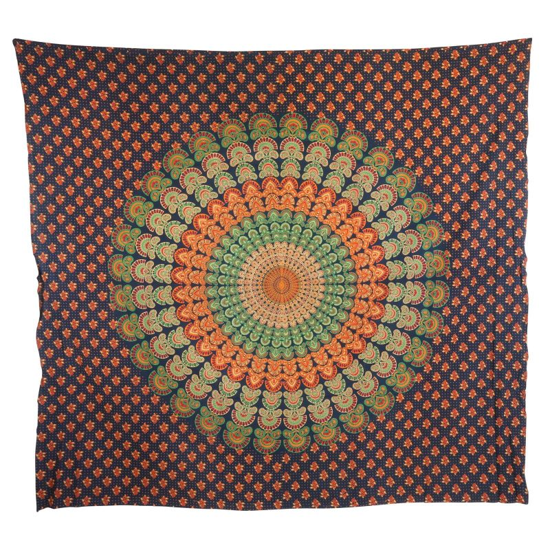bedcover decorative cloth mandala orange green. Black Bedroom Furniture Sets. Home Design Ideas