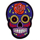 Patch � Skull Mexico with Rose - blue/orange 2