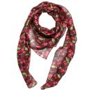 Cotton Scarf ° Cherry Print ° wine red