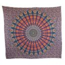 Bedcover ° decorative cloth ° Mandala ° red-blue ° 83 x 93