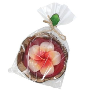 Scented candle in a coconut shell ° Hibiscus ° red