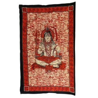 Tagesdecke ° Wandtuch ° Shiva ° rot ° 135 x 210