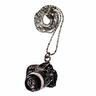 Kette mit Anhänger - Kamera - schwarz