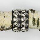 Leather bracelet with skull studs 2-row - Punk Rock Gothic Festival bracelet - black