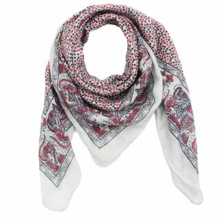 Cotton Scarf - Elephant - white - red-black - squared...