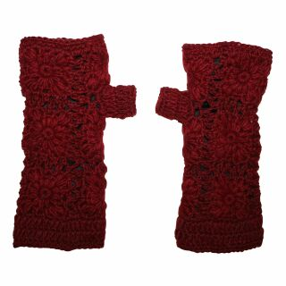 Warmhaltende Armstulpen - Blumenmuster - Stulpe - dunkel rot
