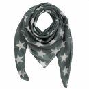 Cotton Scarf - Stars 8 cm grey - white - squared kerchief