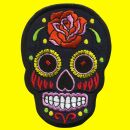 Patch - Skull Mexico with Rose - black-orange