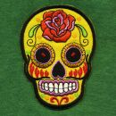Patch - Skull Mexico with Rose - yellow-orange