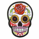 Patch - Skull Mexico with Rose - white-orange