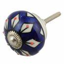 Ceramic door knob shabby chic - Flower 22 - blue - white...