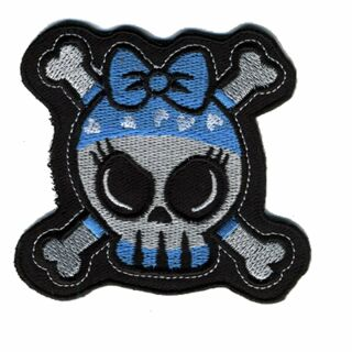 Patch - Skull with bones - white-blue