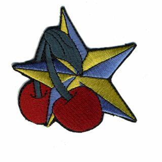 Aufnäher - Stern mit Kirsche - blau-gelb und rot - Patch