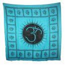 Cotton Scarf - Om 2 blue - black - squared kerchief