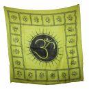Cotton Scarf - Om 2 green - black - squared kerchief