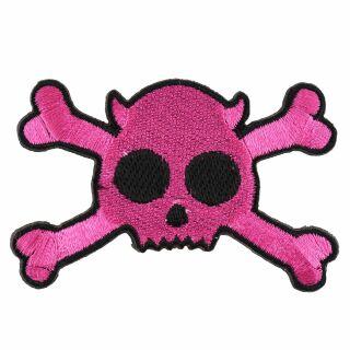 Parche - Calavera diablo - pink-negro