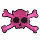 Aufnäher - Totenkopf Teufel - pink-schwarz - Patch