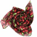 Cotton Scarf - Cherry Print - wine red - squared kerchief