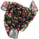 Cotton Scarf - Cherry Print - black - squared kerchief