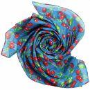 Cotton Scarf - Cherry Print - blue - squared kerchief