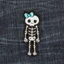Patch - scheletro con fiocco - blu - toppa
