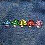 Aufnäher - Pilzreihe - blau-grün-gelb-rot-rosa - Patch