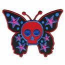 Patch - Butterfly Skull red purple blue