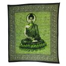 Tagesdecke - Wandtuch - Buddha - grün - 215x235cm