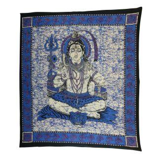 Tagesdecke - Wandtuch - Shiva - blau - 215x235cm