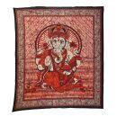 Tagesdecke - Wandtuch - Ganesha - rot - 215x235cm