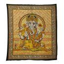 Bedcover - decorative cloth - Ganesha - orange - 83x93in