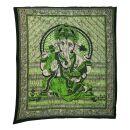 Tagesdecke - Wandtuch - Ganesha - grün - 215x235cm