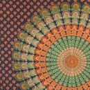 Bedcover - decorative cloth - Mandala - orange-green -...
