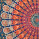 Bedcover - decorative cloth - Mandala - orange-blue -...