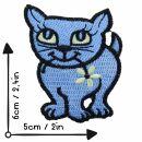 Aufnäher - Katze mit Blume - blau - Patch