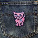 Aufnäher - Katze mit Blume - rosa - Patch