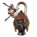 Lock - Padlock - Buddha - brass - red