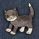 Aufnäher - graues Kätzchen - Patch
