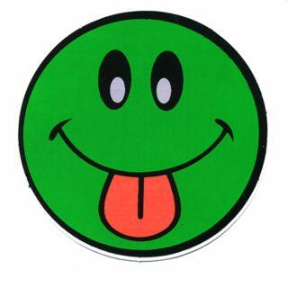 Aufkleber - Smiler mit Zunge - grün-rot - Sticker