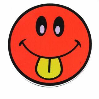 Adhesivo - Smiler con Lengua - rojo claro-amarillo