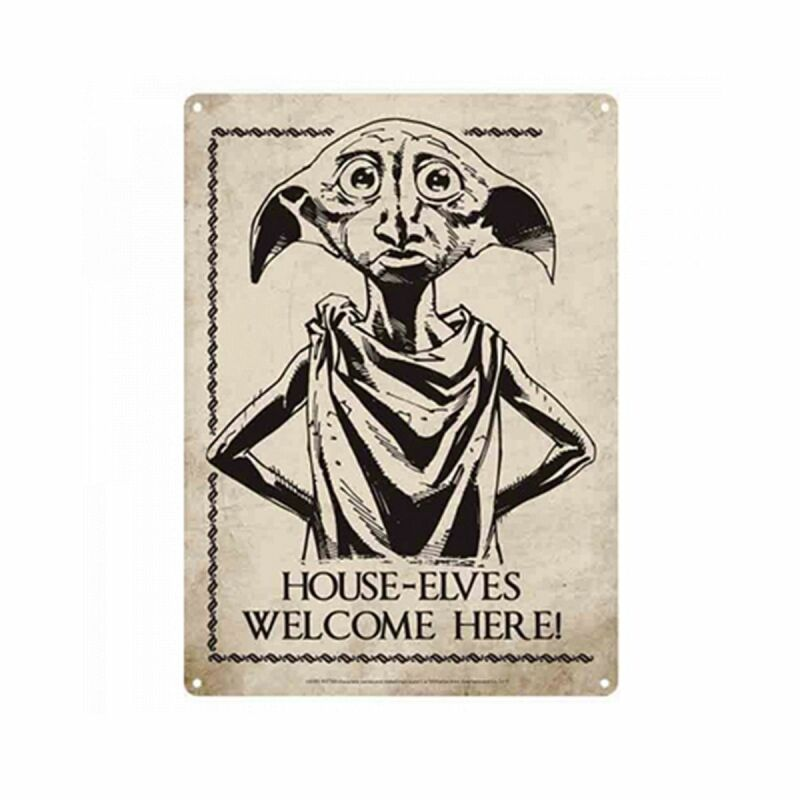 Blechschild 15x21cm - Harry Potter - House-Elves Welcome Here! - Nostalgie Blech Schild