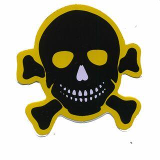 Aufkleber - Totenkopf - schwarz-gelb - Sticker