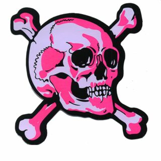 Aufkleber - Totenkopf - pink-weiß rechts - Sticker