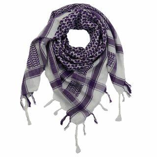 Kufiya - Keffiyeh - blanco - violeta - Pañuelo de Arafat