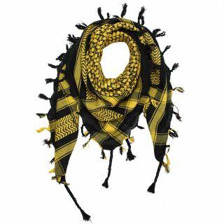 Kufiya - Keffiyeh - negro - amarillo - Pañuelo de Arafat