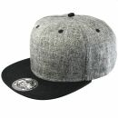 Snapback Cap - Fischgrätmuster - grau-schwarz
