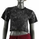 Crop Top - Shirt - Used Look - Stonewashed - schwarz