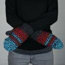 Fäustlinge - Strickhandschuhe - Wolle - rot-blau