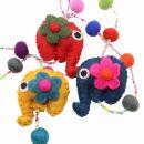 Decorative chain - garland - felt - elephants
